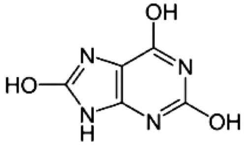 chemische Strukturformel der Harnsäure