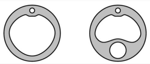 Abb. Querschnitt von transurethralen Dauerkatheter (2-Wege) und Harnblasen-Spülkatheter (3-Wege)