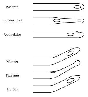 Abb. gebräuchliche Katheterspitzen von Blasenkatheter